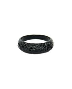 Anel de metal preto com strass preto Fields