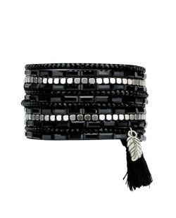 Pulseira 2 voltas preta com strass preto e cinza Mostar