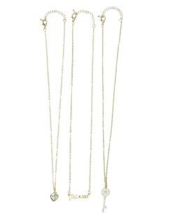 Kit três colares dourado com pedras cristal Lívia
