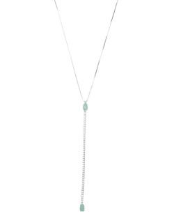 Colar de metal prateado com strass cristal verde Brenica