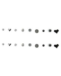 Kit 9 pares de brinco grafite com pedras preta Jeanne
