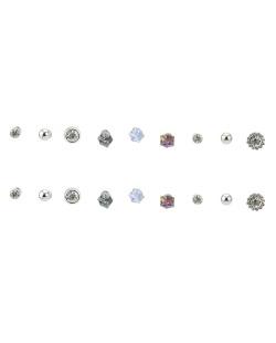 Kit 9 pares de brincos prateado com pedras cristal Noah