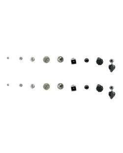 Kit 9 pares de brinco grafite com pedras preta Fuane