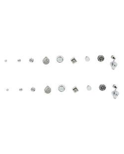Kit 9 pares de brinco prateado com pedra branca leitosa Fuane