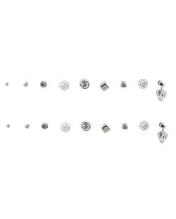 Kit 9 pares de brinco prateado com pedra cristal Fuane