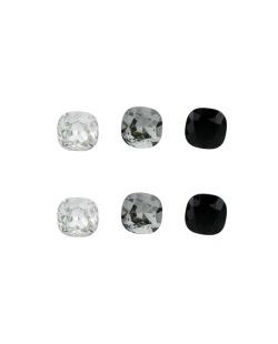 Kit 3 pares de brinco com pedras cristal fumê e preta Daina