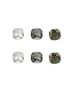Kit 3 pares de brinco com pedras cristal fumê e grafite Daina