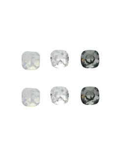 Kit 3 pares de brinco com pedras branca leitosa cristal e fumê Daina