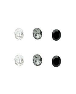 Kit 3 pares de brinco com pedras cristal fumê e preta Veine