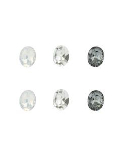 Kit 3 pares de brinco com pedras branca leitosa cristal e fumê Veine