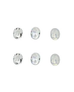 Kit 3 pares de brinco com pedras cristal furta-cor e branca leitosa Veine