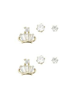 Kit 3 pares de brincos dourados com pedras cristal Phant