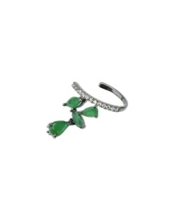 Piercing de pressão grafite com strass cristal e verde Vucitr