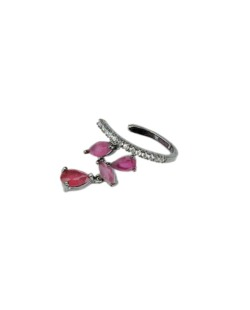 Piercing de pressão grafite com strass cristal e rosa Vucitr