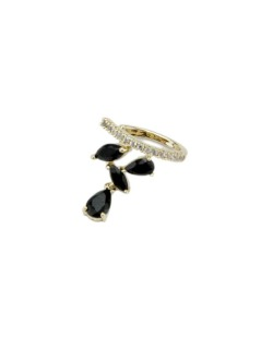 Piercing de pressão dourado com strass cristal e preto Vucitr