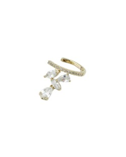Piercing de pressão dourado com strass cristal Vucitr