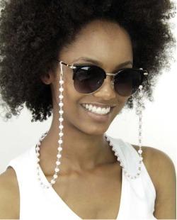 Eyeglass Chaine com pedras rosa e prata Mariann