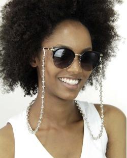 Eyeglass Chaine com pedras cristal e prata Mariann