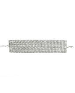 Gargantilha choker de metal prateado com strass cristal Escodra