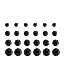 Kit com 12 pares de brincos pequenos preto Antuali
