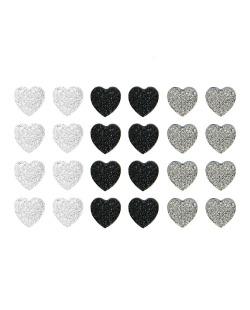 Kit com 12 pares de brincos pequenos prata grafite e preto Core