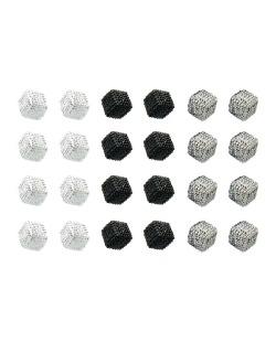 Kit com 12 pares de brincos pequenos prata grafite e preto Cubes