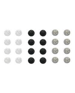 Kit com 12 pares de brincos pequenos prata grafite e preto Litya