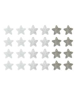 Kit com 12 pares de brincos pequenos prata grafite e branco Stars