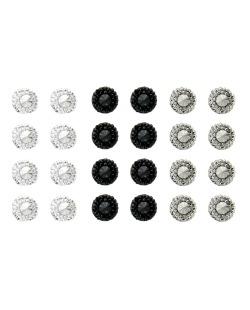 Kit com 12 pares de brincos pequenos prata grafite e preto Bilar