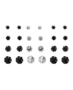 Kit com 12 pares de brincos pequenos preto e cristal Ciansi