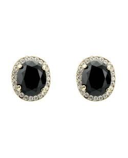 Brinco pequeno dourado com strass cristal e pedra preta Kindred