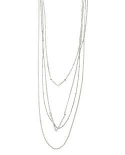 Colar de metal prateado com strass cristal Drian