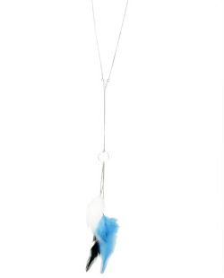 Colar de metal prateado com penas azul branco e preto Panel