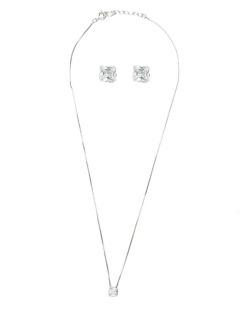 Kit brinco mais colar de metal prateado com pedra cristal Anpolis