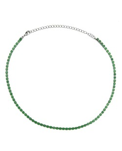 Gargantilha choker folheada de metal grafite com strass verde Kelier