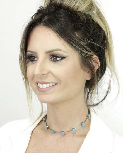 Gargantilha choker grafite com pedras azul Paige