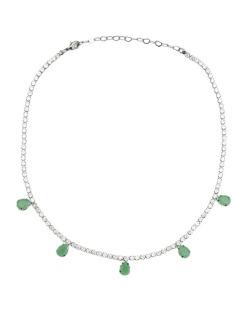 Gargantilha choker grafite com strass cristal e verde Brien