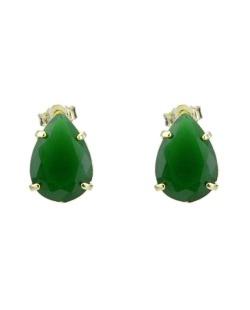 Brinco pequeno dourado com pedra verde escuro Wesba