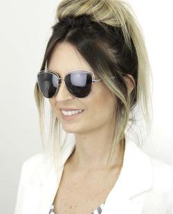 Óculos de sol prateado com lente escura Quiartu