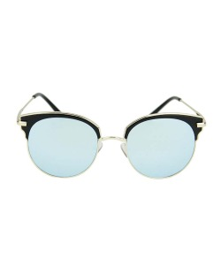 Óculos de sol preto e dourado espelhado azul Kiran