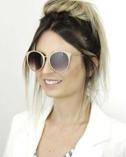 Óculos de sol nude e dourado com lente marrom Davos