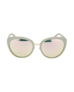 Óculos de sol nude e dourado com espelhado rosa Reed