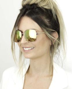 Óculos de sol dourado com espelhado rosa Myrcel