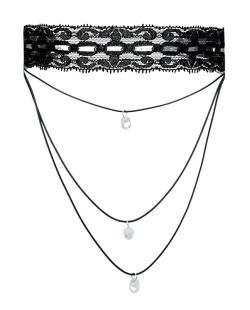 Gargantilha choker preta de renda e pedra cristal Dugtrio
