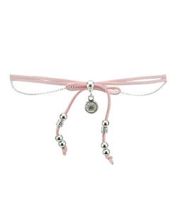 Gargantilha choker rosa e prateada com pedra cristal  Zapdos