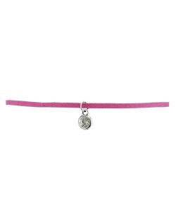 Gargantilha choker rosa com pedra cristal Leplume
