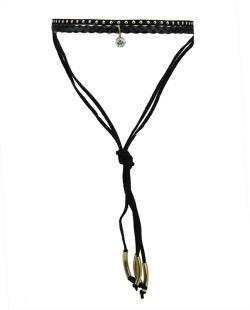 Gargantilha choker preta e dourada com pedra cristal Aluri