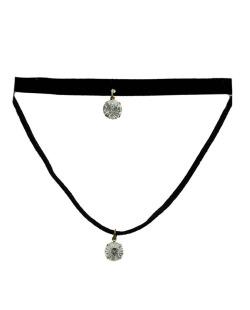 Gargantilha choker preta e dourada com pedras cristal Redaru