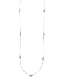 Colar de metal prateado com pedras cristal Quitand
