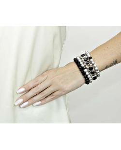 Kit 4 pulseiras de metal e acrílico prata e preto Quintane